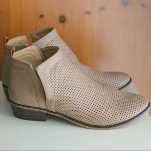 Restricted Tan Perforated Open Side Ankle Booties